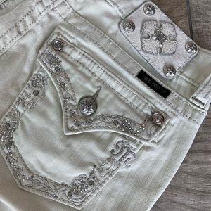 • Miss Me  • Designer • Cream Denim Skinny Jeans